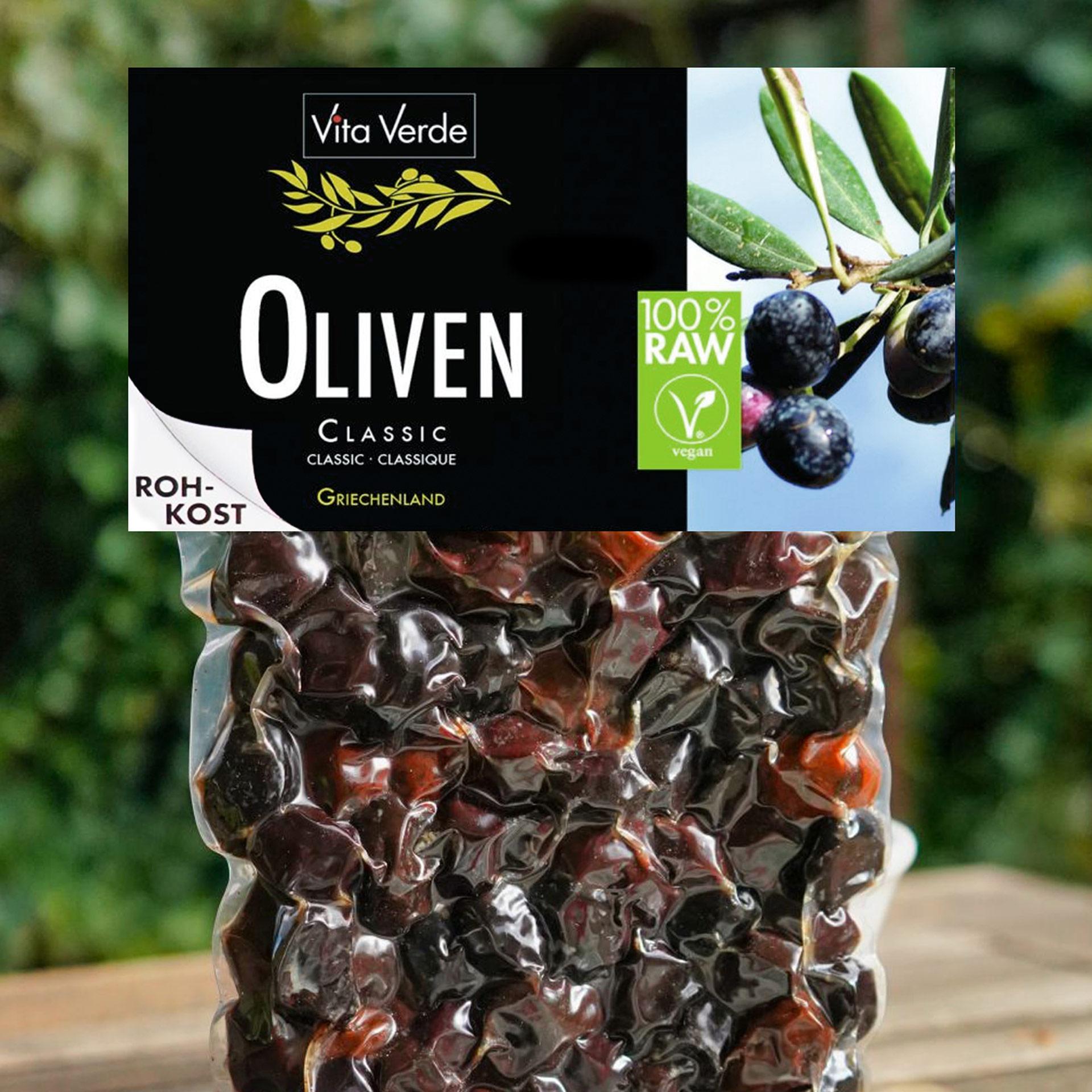 Vita Verde Oliven Thrumba schwarze Oliven mit Stein