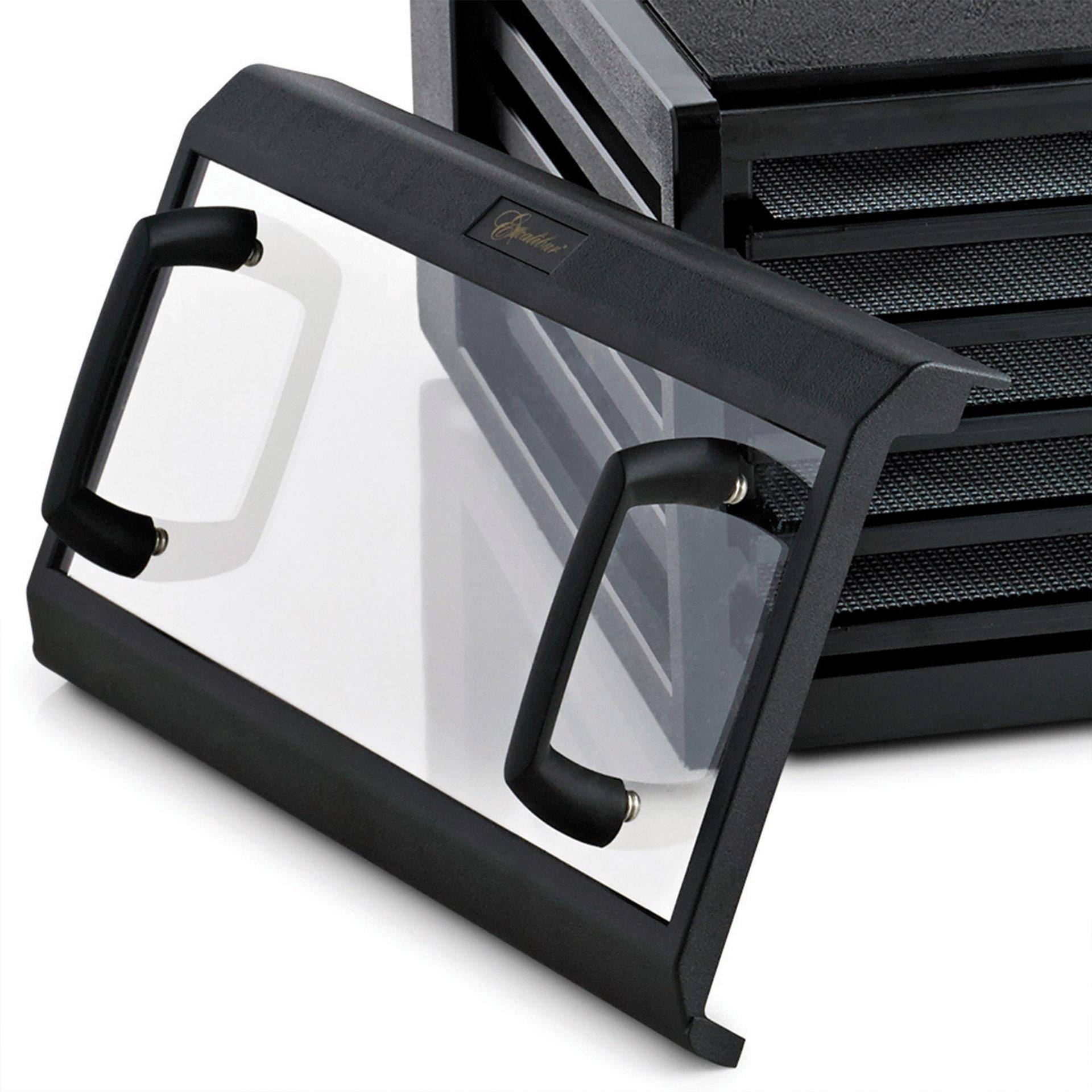 Excalibur Trockner mit 5 Einschüben Nahaufnahme der Glastür