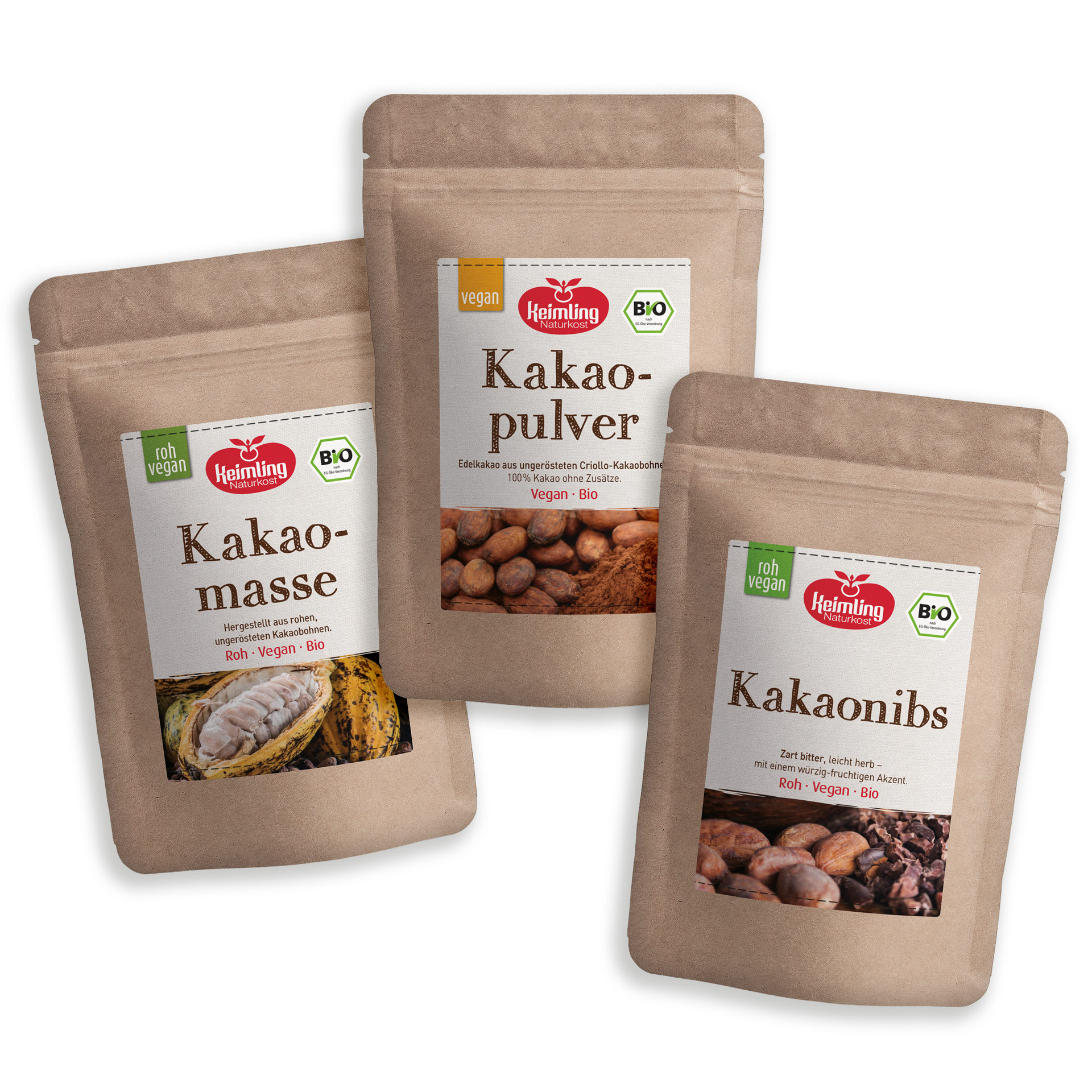 Kakao-Set bestehend aus Kakanobs, Kakamasse und Kakaopulver