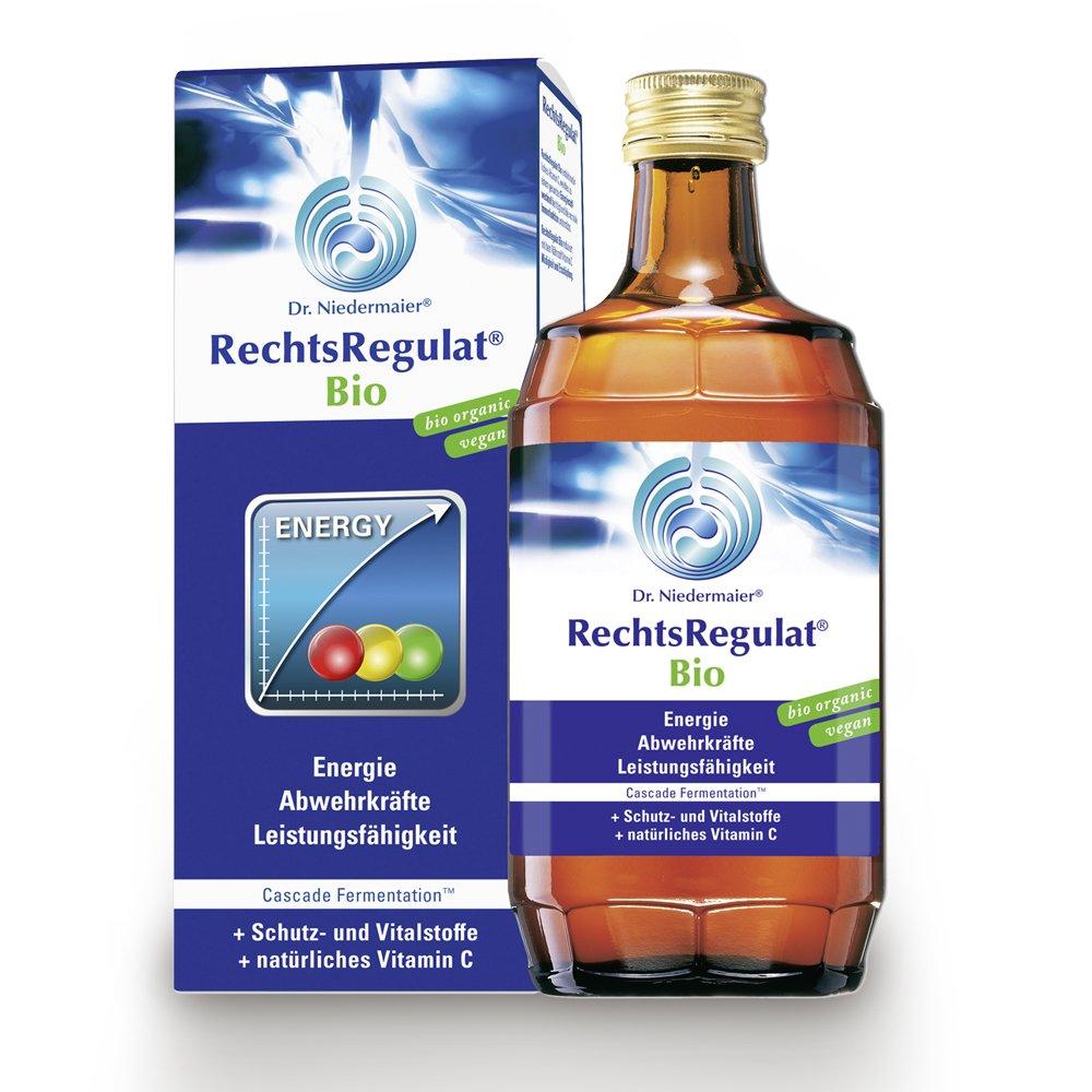 Rechtsregulat in der Flasche mit Verpackung