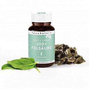 InnoNature Kelp + Spinat: Natuerliche Jod + Folsaeure 120 Kapseln im Glas