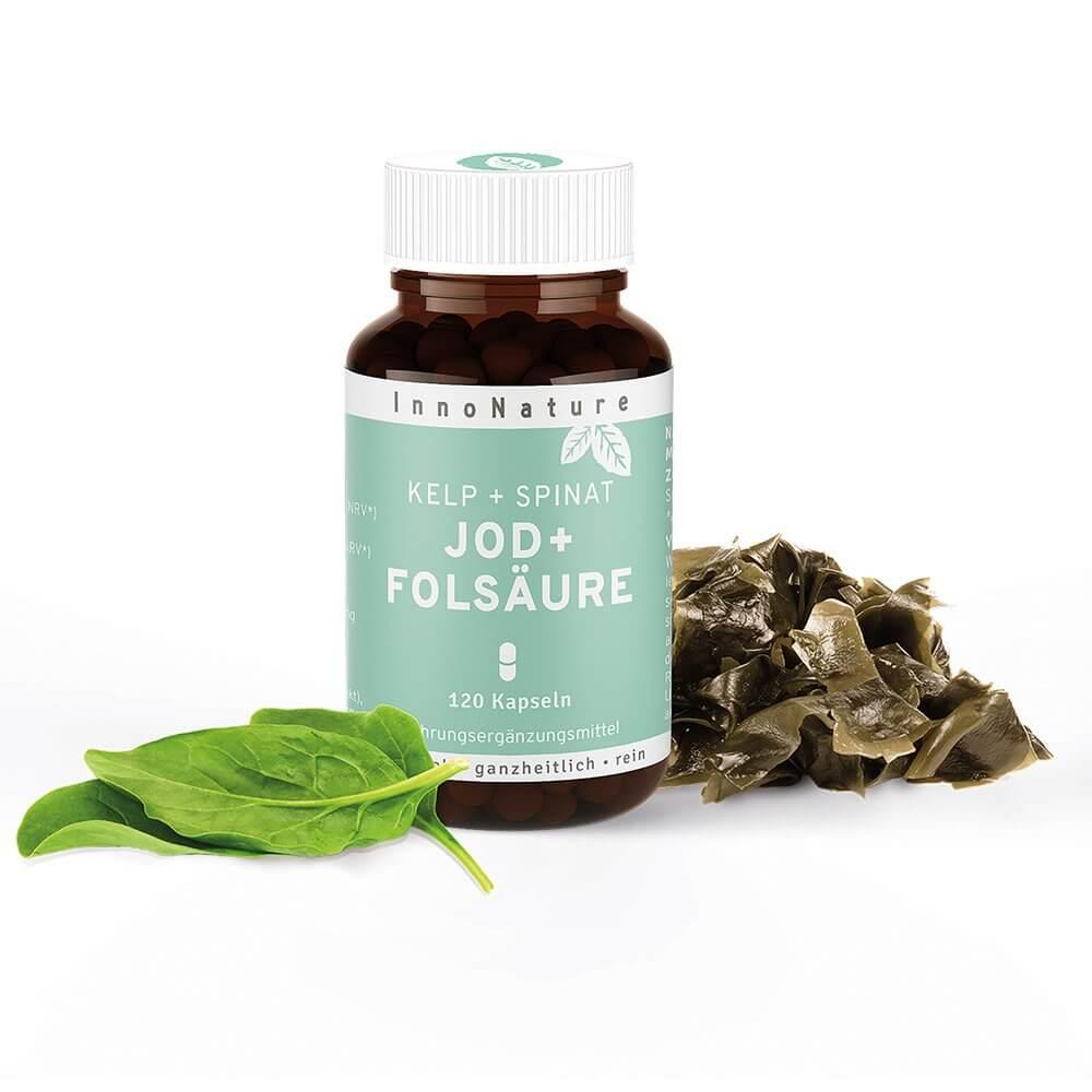 InnoNature Kelp + Spinat: Natuerliche Jod + Folsaeure Kapseln im Glas