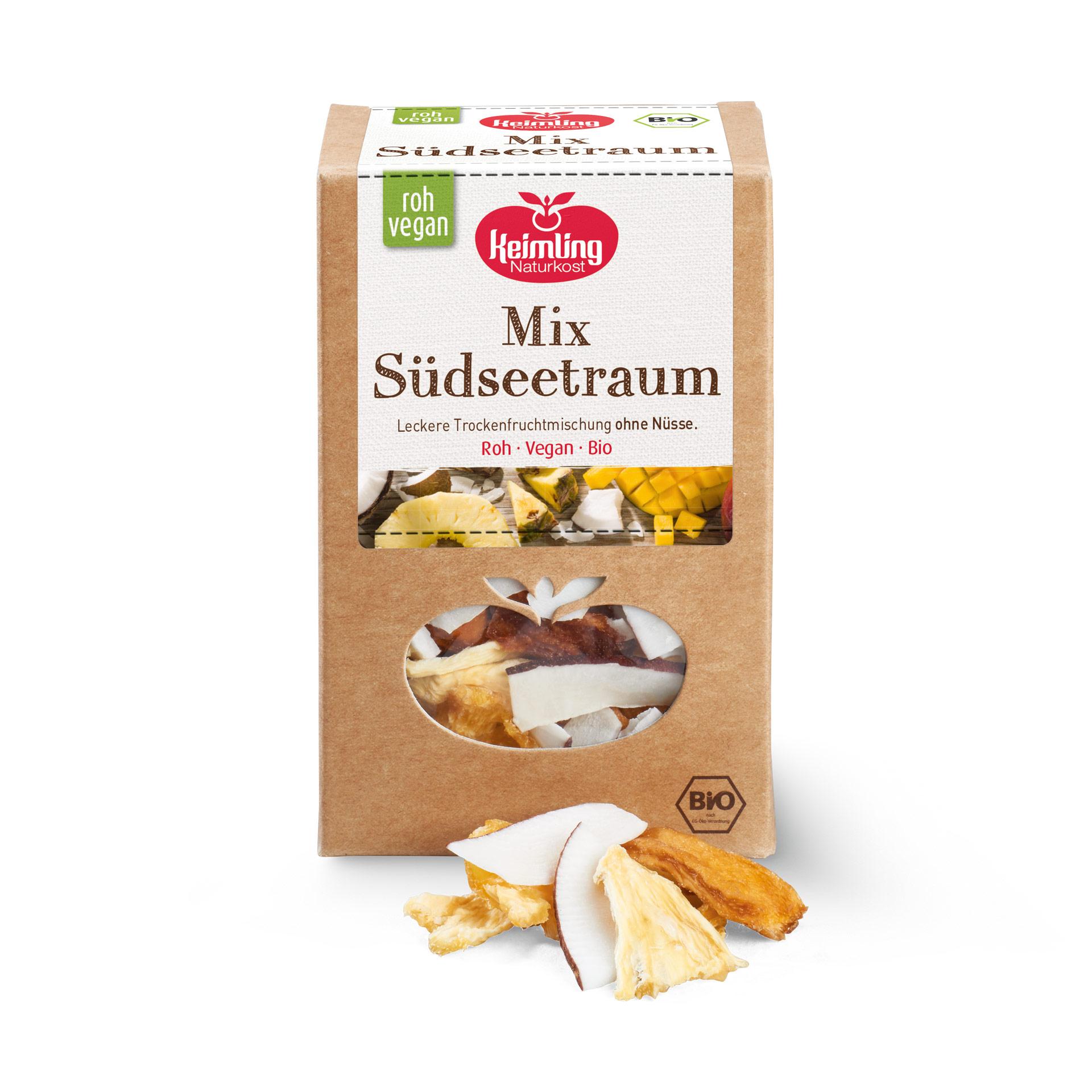 Keimling Mix Südsseetraum mit Mangostücken, Kokosnussstreifen und Ananasstücken in Rohkost-Qualität